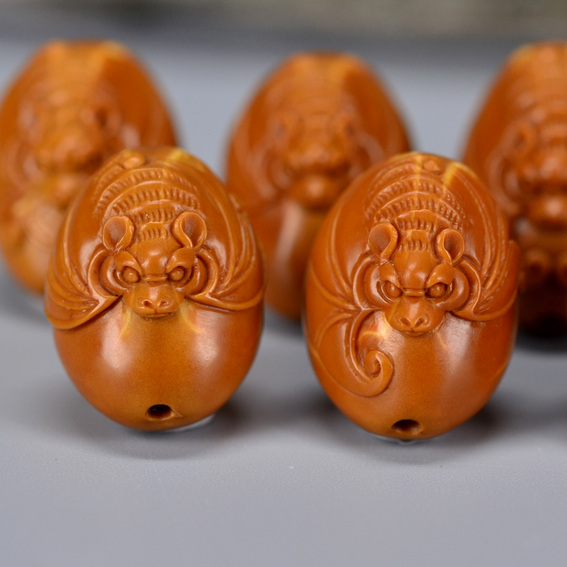 鸿木斋 鸿款橄榄胡雕刻 有福手串  G233 (5) .JPG