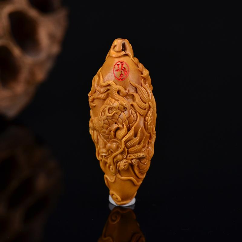 鸿木斋 鸿款雕刻橄榄核双龙戏珠 单籽大核 G258 (7).JPG