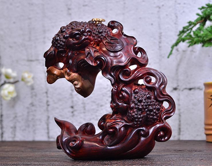 鸿木斋 小叶紫檀雕刻荷叶金蟾倒流香Z1483 (9) .JPG