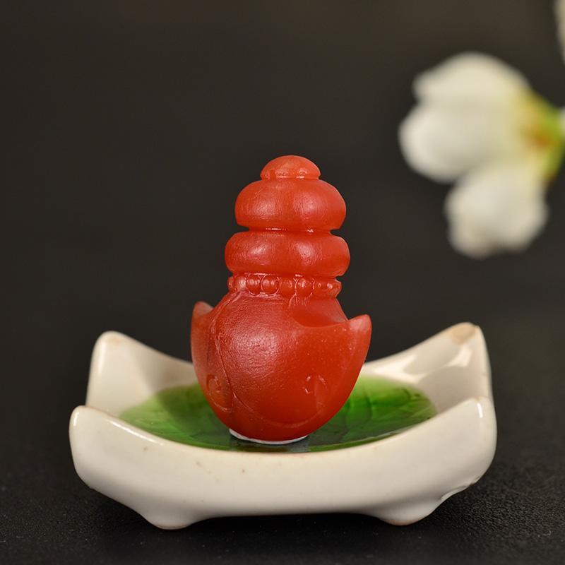 鸿木斋 南红玛瑙雕刻 天然保山南红柿子红N3412 (6) .JPG