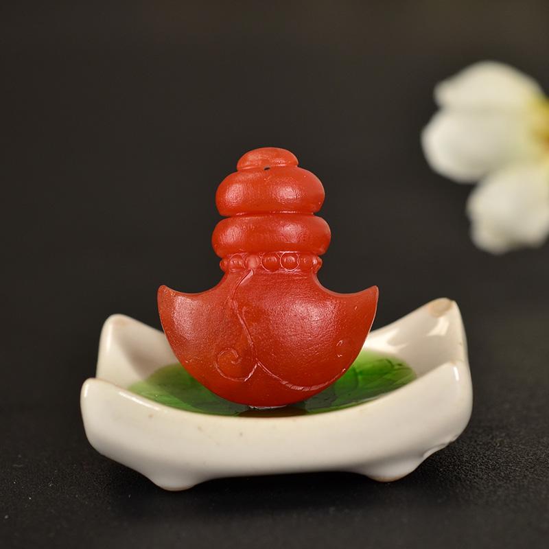 鸿木斋 南红玛瑙雕刻 天然保山南红柿子红N3412 (2) .JPG