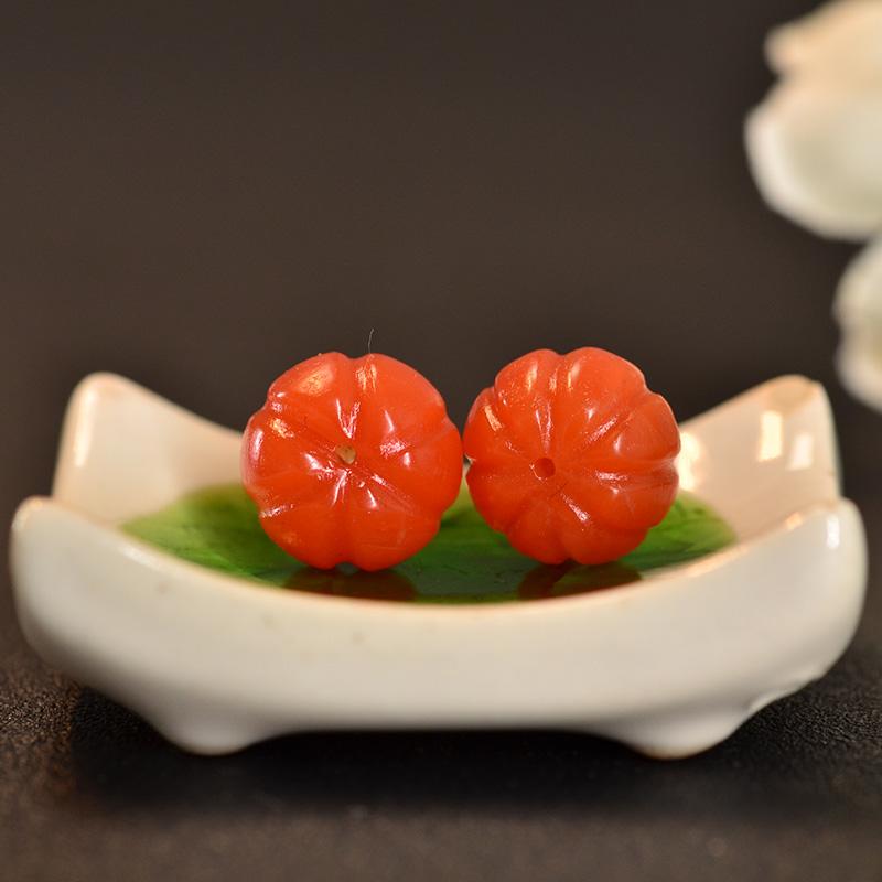 鸿木斋 南红腰珠 天然保山南红柿子红N3416 (5).JPG