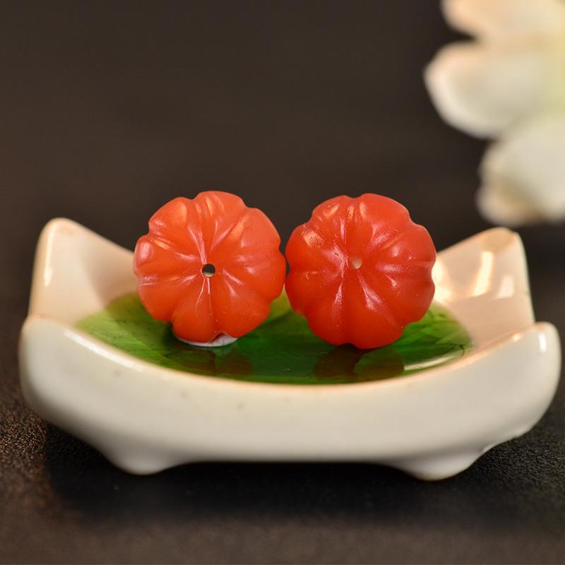 鸿木斋 保山南红散珠 天然柿子红 N3429 (6).JPG