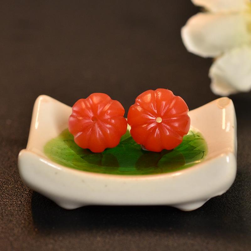 鸿木斋 南红腰珠 天然保山南红柿子红N3433 (6).JPG