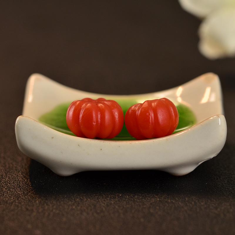 鸿木斋 天然保山南红散珠 柿子红N3437 (2) .JPG