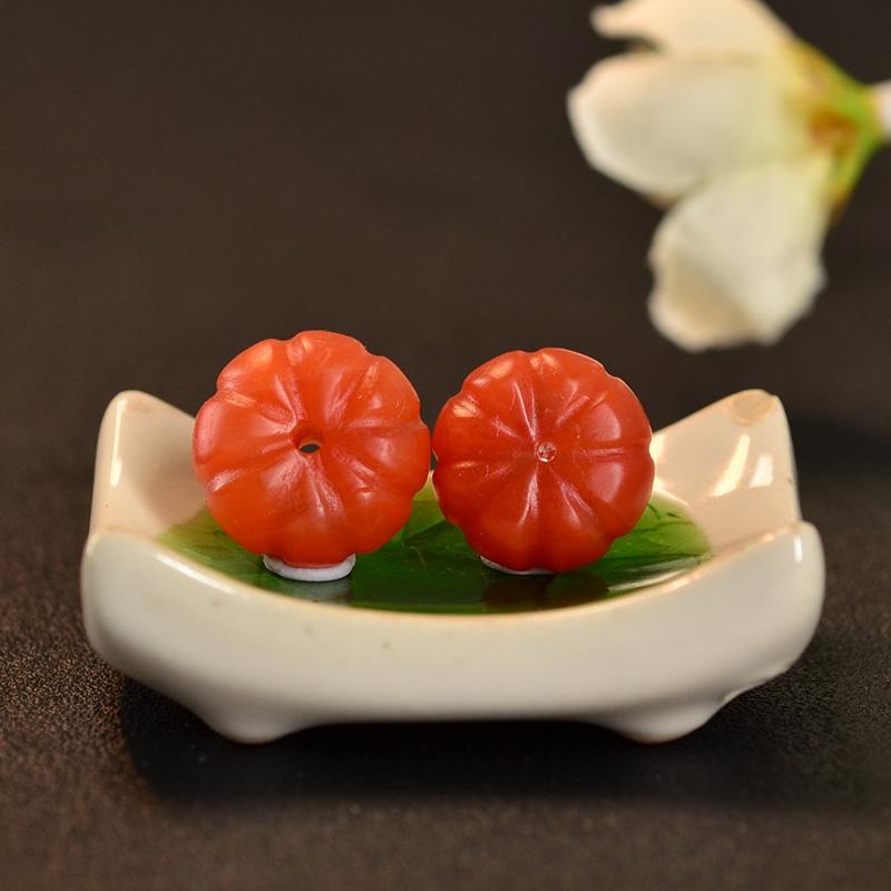 鸿木斋 天然保山南红散珠 柿子红N3440 (5).JPG