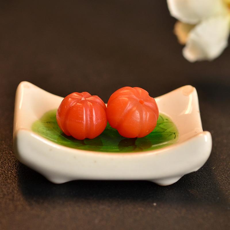 鸿木斋 南红玛瑙腰珠 天然柿子红 南红南瓜珠 孤品N3449 (3) - 副本.JPG