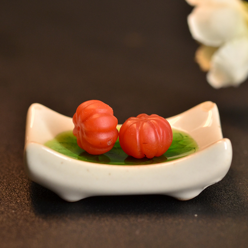 鸿木斋 南红玛瑙腰珠 天然柿子红 南红南瓜珠 孤品N3448 (2).JPG