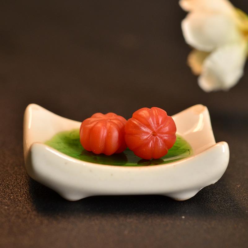 鸿木斋 南红玛瑙腰珠 天然柿子红 南红南瓜珠 孤品N3448 (3).JPG