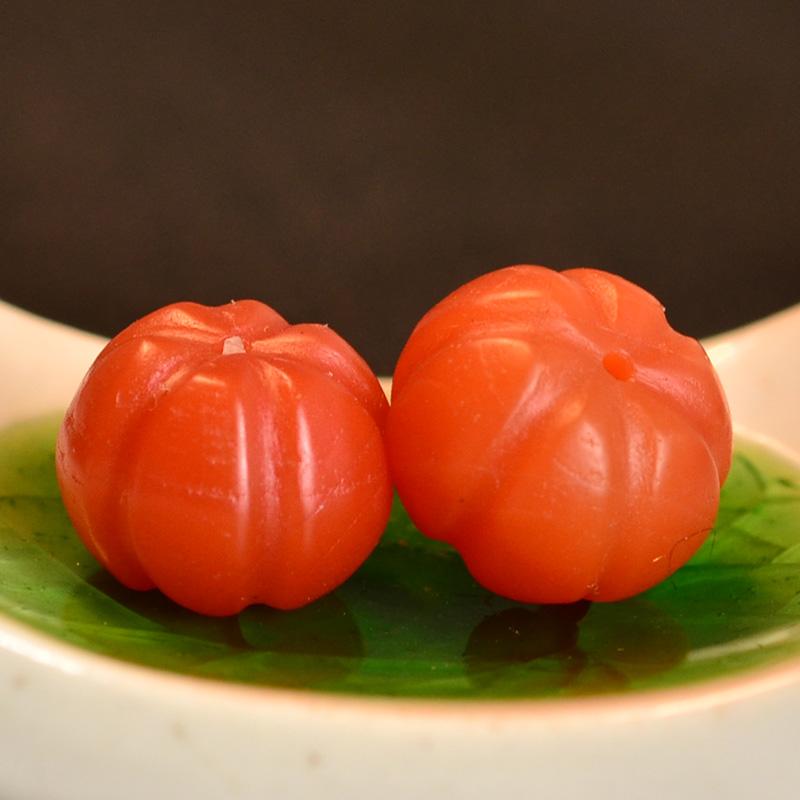 鸿木斋 南红玛瑙腰珠 天然柿子红 南红南瓜珠 孤品N3449 (3).JPG