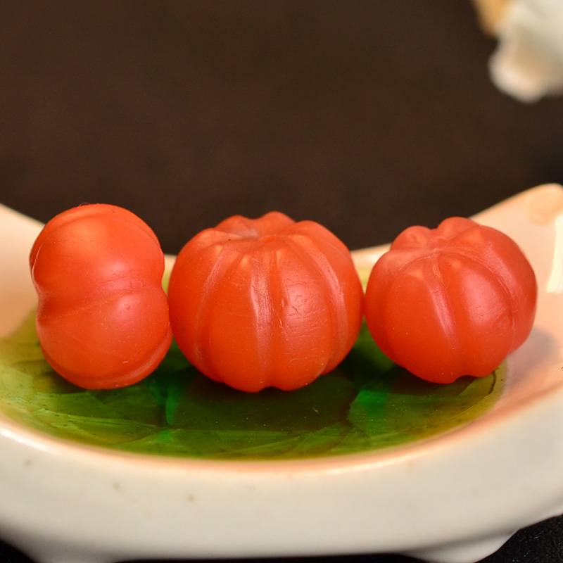 鸿木斋 南红玛瑙顶珠腰珠 天然柿子红 南红南瓜珠 孤品N3452 (3).JPG
