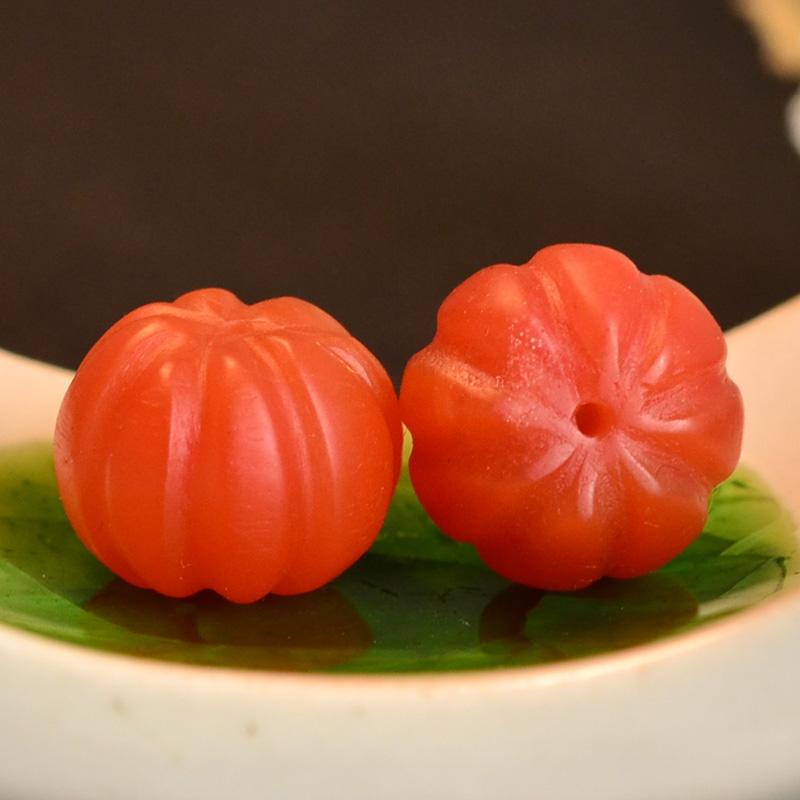 鸿木斋 保山南红散珠 天然柿子红南瓜珠 N3453 (4).JPG