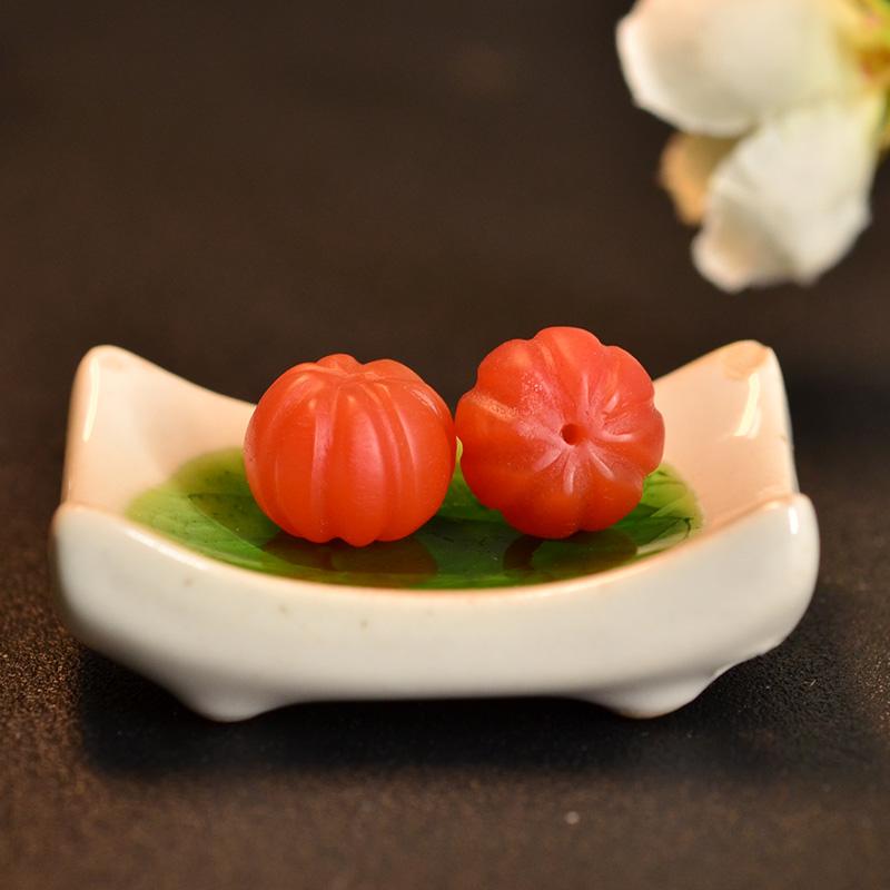 鸿木斋 保山南红散珠 天然柿子红南瓜珠 N3453 (5).JPG