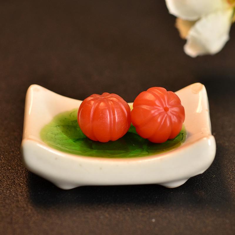 鸿木斋 保山南红散珠 天然柿子红南瓜珠N3455 (2).JPG