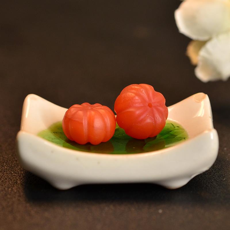 鸿木斋 保山南红散珠 天然柿子红南瓜珠N3457 (2).JPG