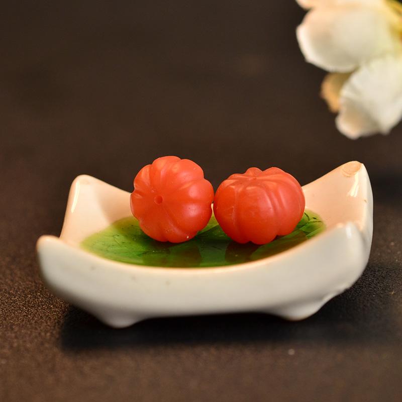 鸿木斋 保山南红散珠 天然柿子红南瓜珠N3457 (5).JPG
