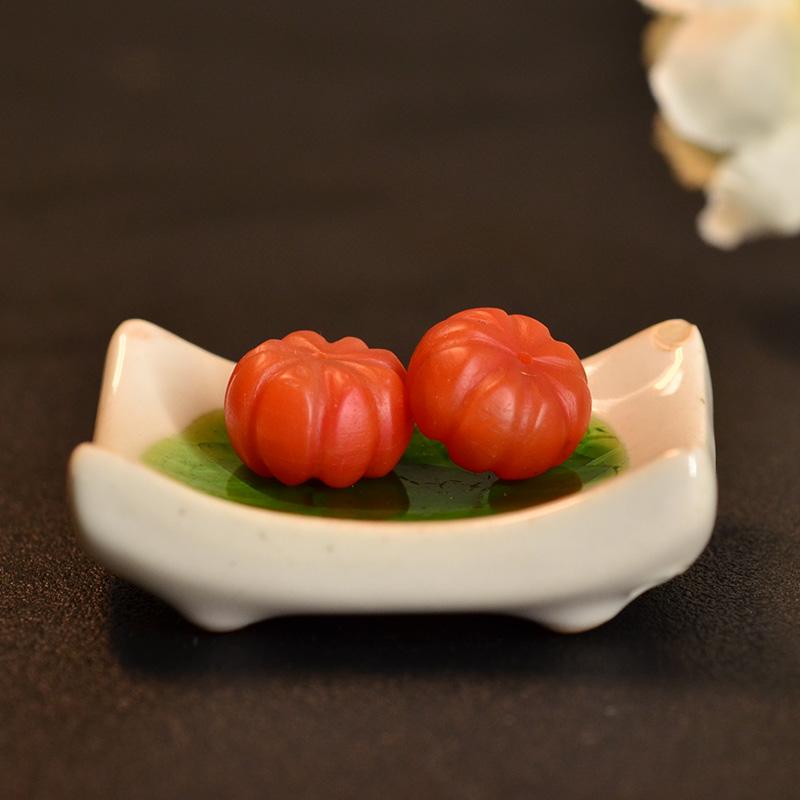 鸿木斋 天然保山南红散珠 南红柿子红N3462 (2) .JPG