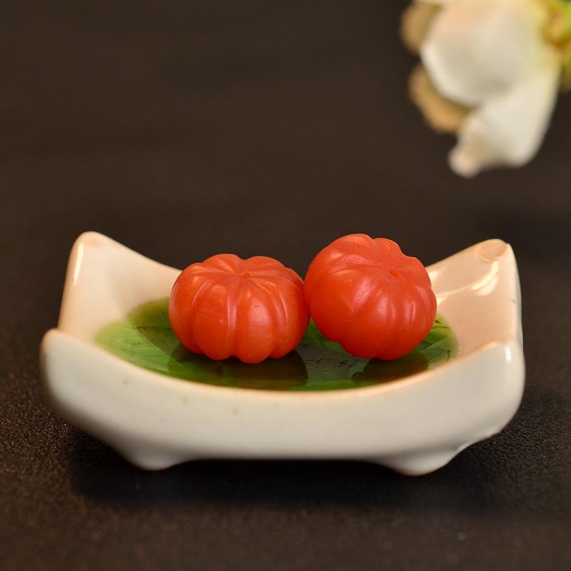鸿木斋 天然保山南红散珠 南红柿子红N3461 (2) .JPG