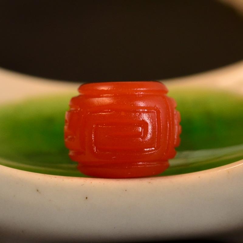 鸿木斋 南红玛瑙单珠 天然保山南红柿子红N3492 (4) .JPG