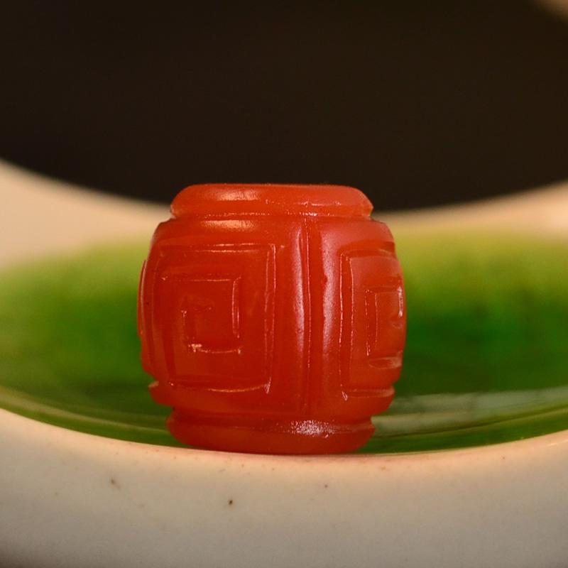 鸿木斋 南红玛瑙单珠 天然保山南红柿子红N3495 (4) .JPG