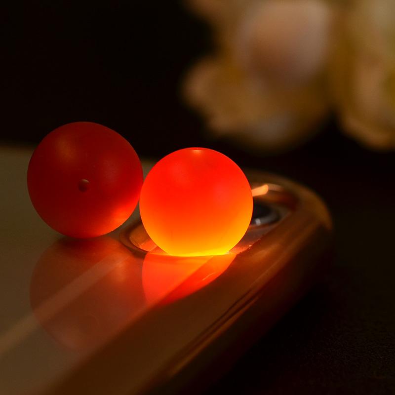 鸿木斋 南红玛瑙散珠 天然保山南红柿子红 南红腰珠 孤品N3513 (6).JPG