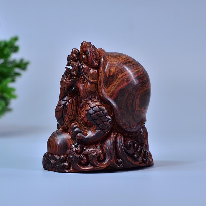 鸿木斋 黄花梨手把件 鸿款雕刻2寸半龙龟 H6842 (2) .JPG