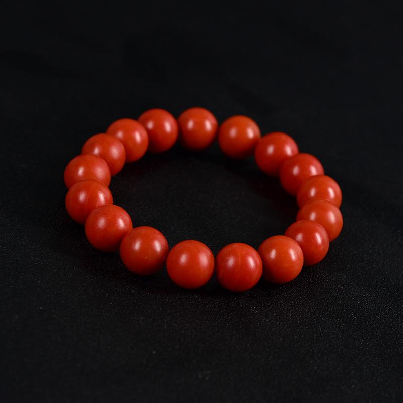 鸿木斋 天然保山南红手串 柿子红满色满肉无杂无裂 N3530 (2) .JPG