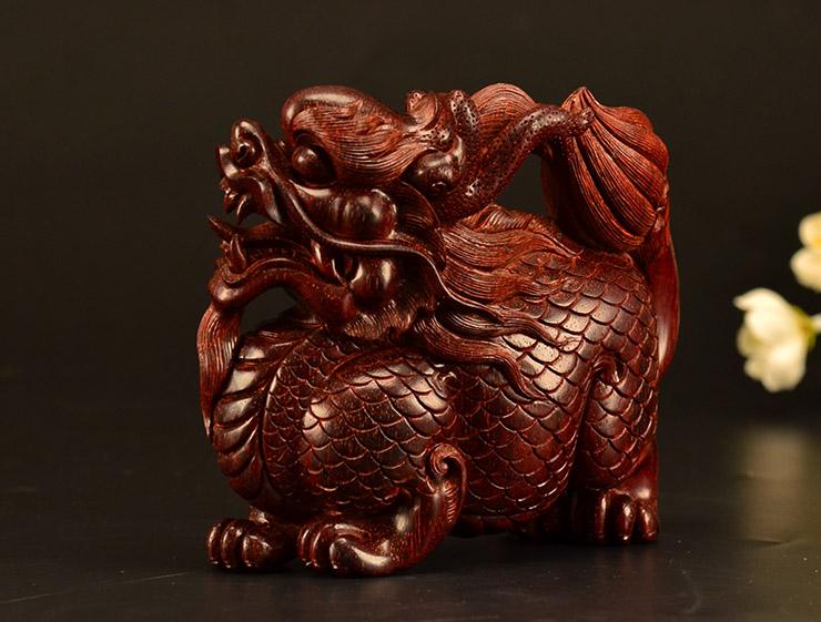 鸿木斋 小叶紫檀手把件鸿款雕刻3寸半麒麟Z1531 (8) .JPG