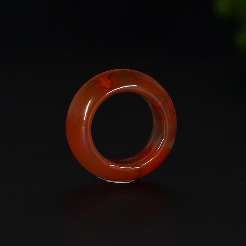 鸿木斋 南红玛瑙戒指 天然九口料玫瑰红火焰纹N3539 (2).JPG