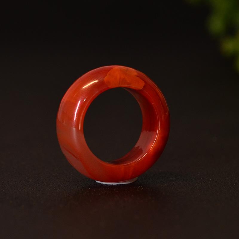 鸿木斋 南红玛瑙戒指 天然九口料玫瑰红火焰纹N3540 (4) .JPG