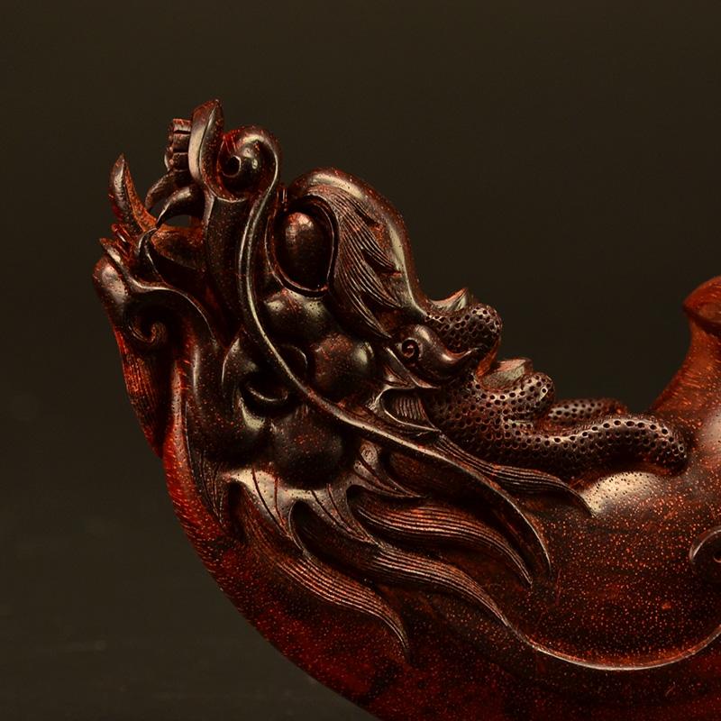 鸿木斋 小叶紫檀把件鸿款雕刻龙头尊高密度雕件孤品Z1552 (6).JPG