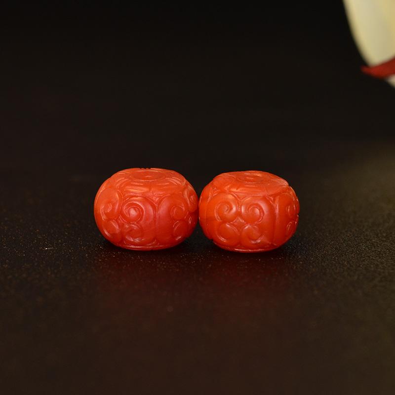 鸿木斋 天然保山南红散珠 柿子红N3557 (2) .JPG