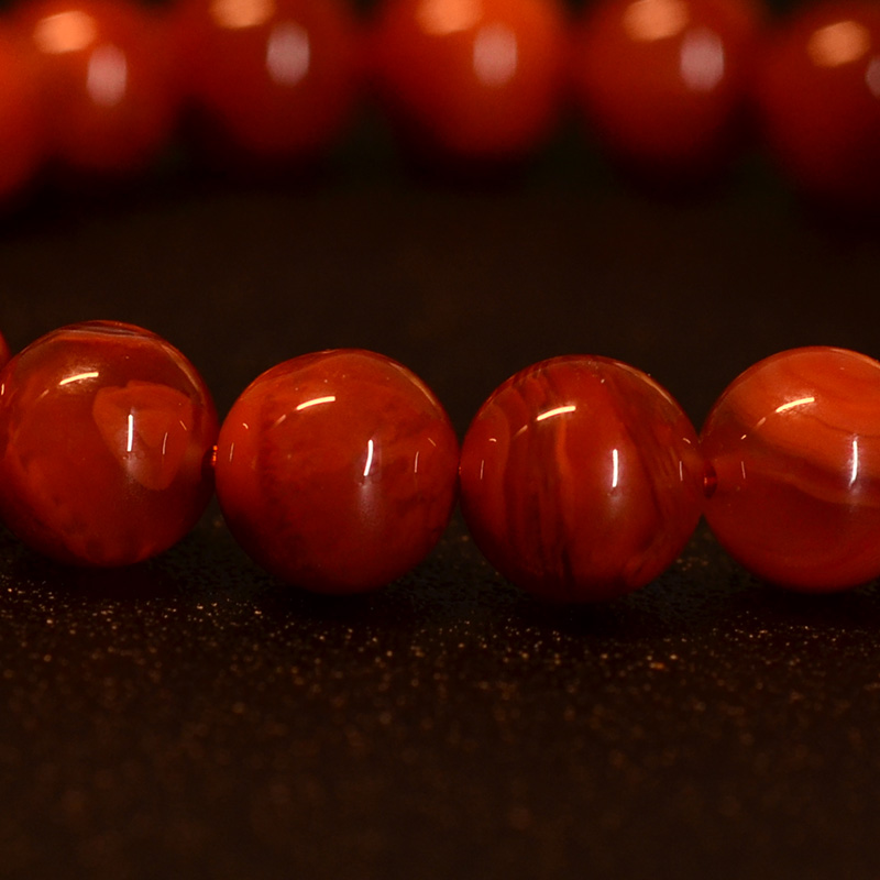鸿木斋 南红玛瑙手链 天然柿子红火焰纹N3572 (4) .JPG