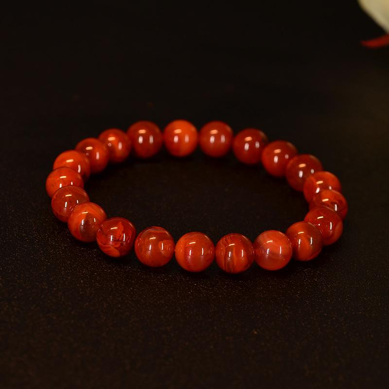 鸿木斋 南红玛瑙手链 天然柿子红火焰纹N3572 (2) .JPG