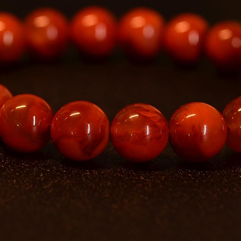 鸿木斋 南红玛瑙手链 天然柿子红火焰纹N3572 (5) .JPG