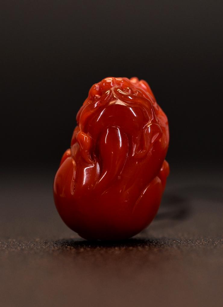 鸿木斋 南红吊坠 凉山料天然柿子红 南红雕刻貔貅 孤品N3596 (8).JPG