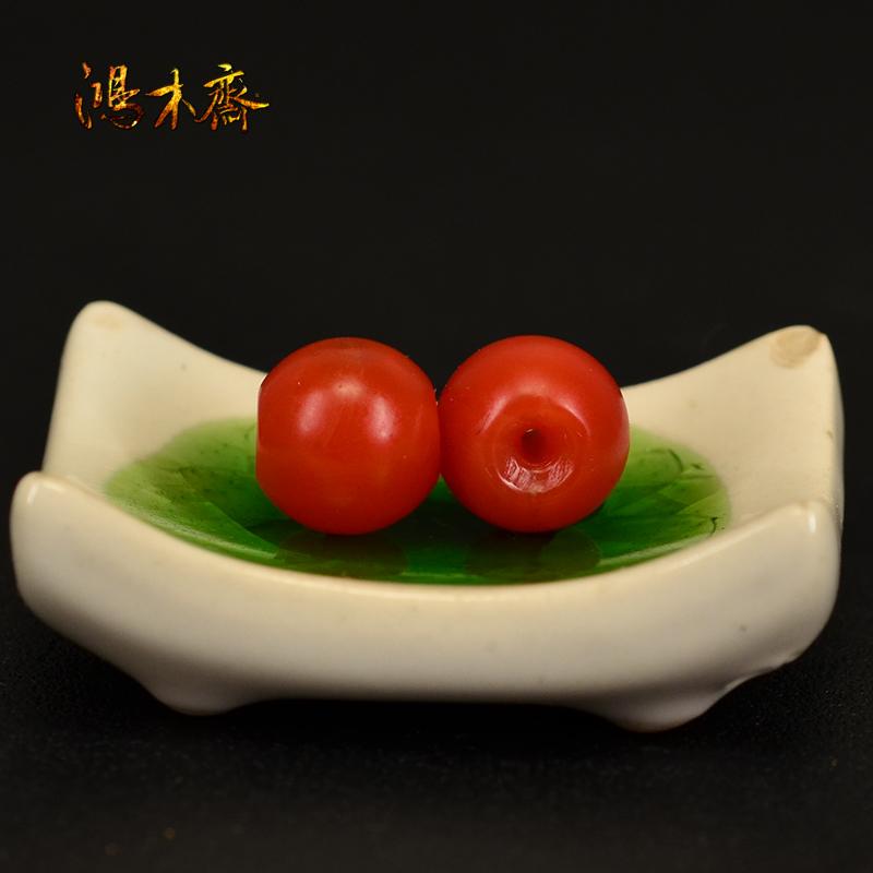 鸿木斋 然南红散珠 山南红柿子红 红腰珠孤品N3599 (5).JPG