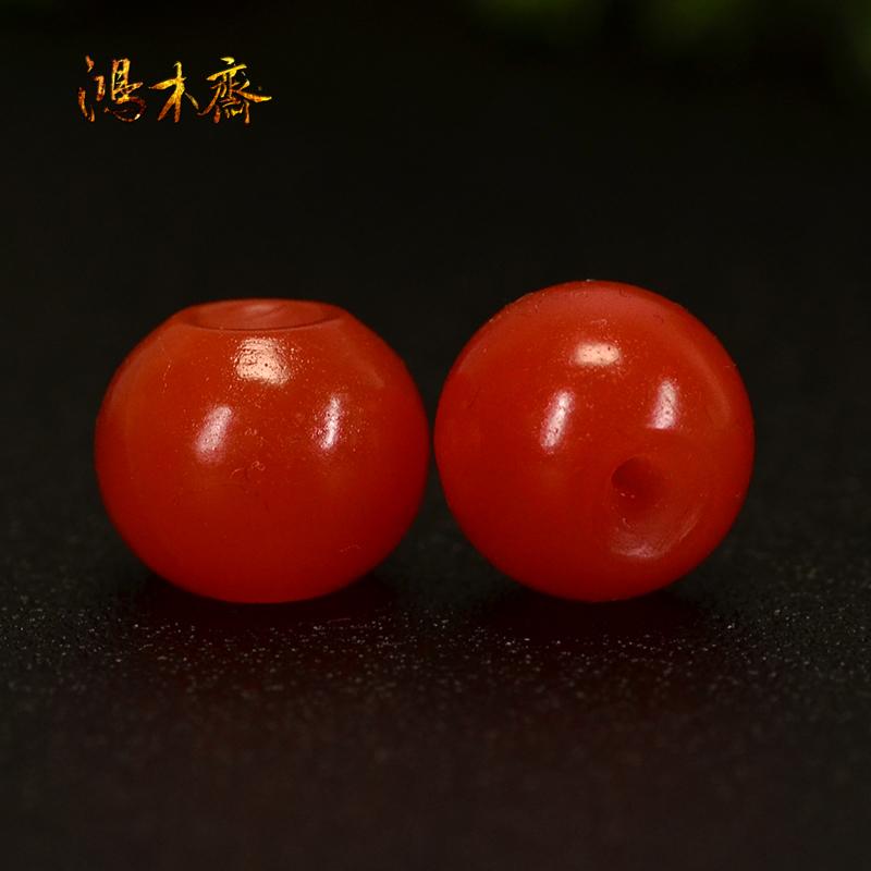 鸿木斋 南红玛瑙散珠 天然保山南红柿子红 南红腰珠 孤品N3605 (4).JPG