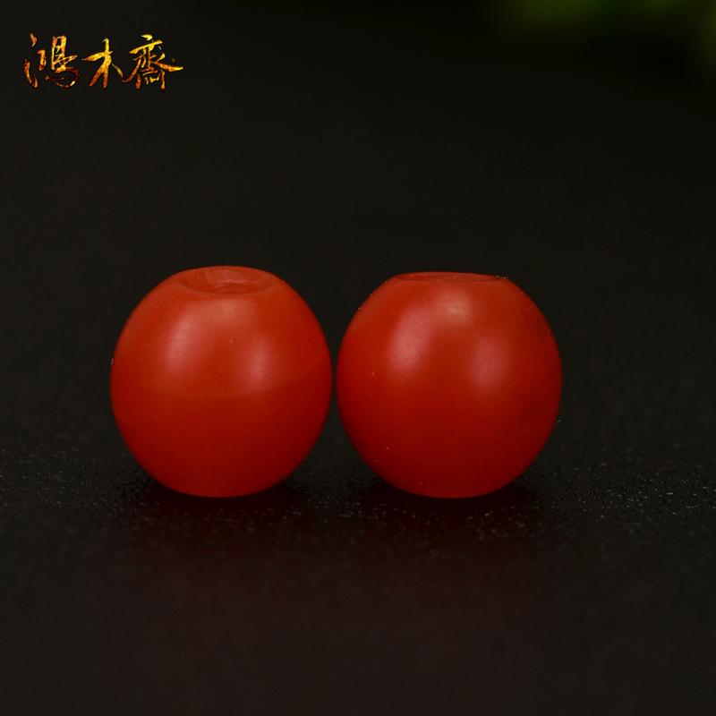 鸿木斋 天然南红散珠 保山南红柿子红 南红腰珠 孤品N3601 (3).JPG