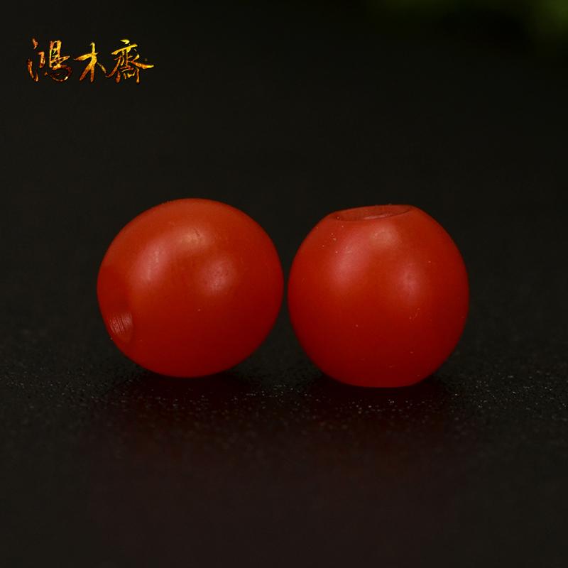 鸿木斋 天然南红散珠 保山南红柿子红 南红腰珠 孤品N3601 (4).JPG