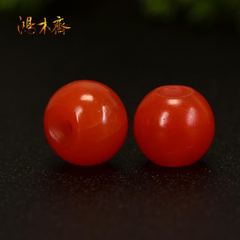鸿木斋 南红玛瑙散珠 天然保山南红柿子红 南红腰珠 孤品N3605 (3).JPG