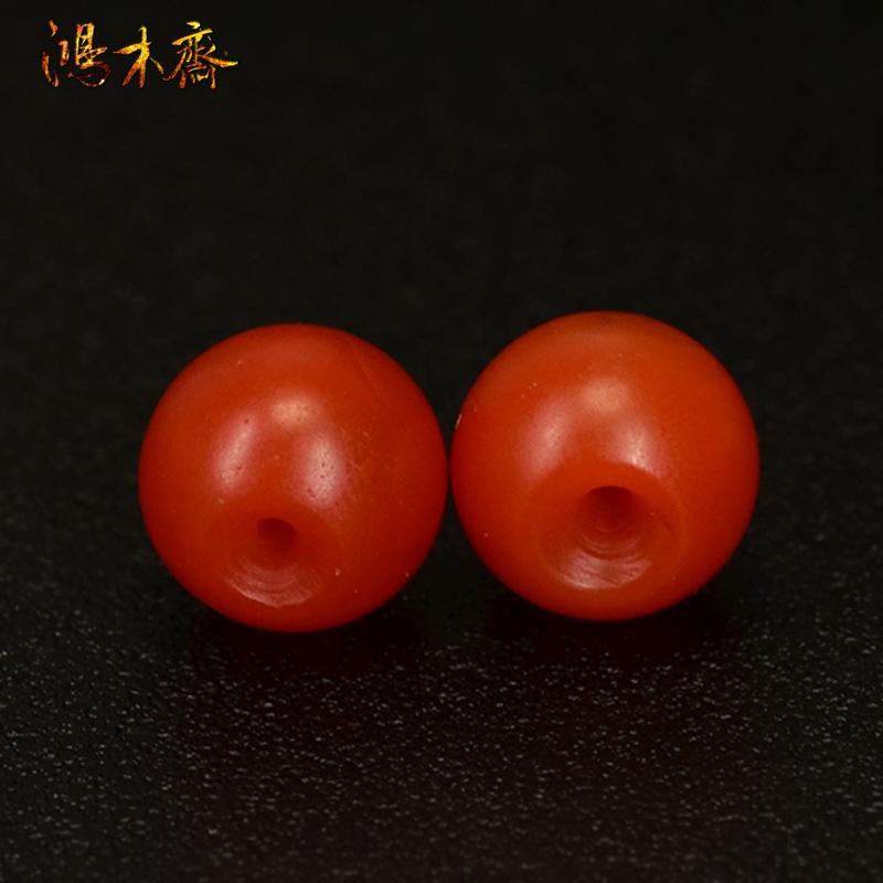 鸿木斋 天然南红散珠 保山南红柿子红 南红腰珠 孤品N3603 (4).JPG
