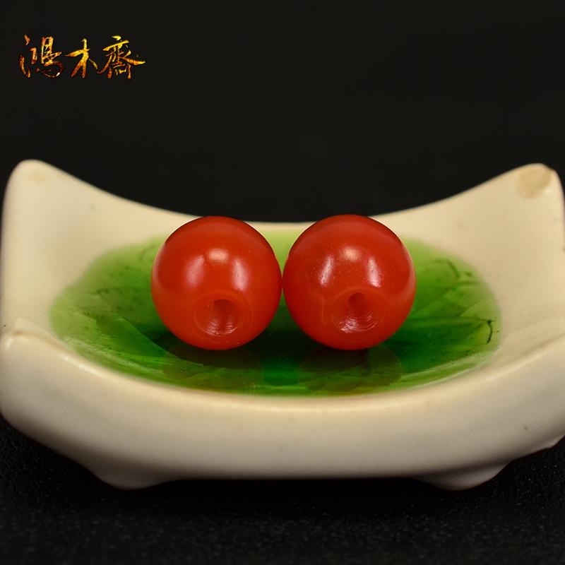 鸿木斋 天然南红散珠 保山南红柿子红 南红腰珠 孤品N3601 (5).JPG