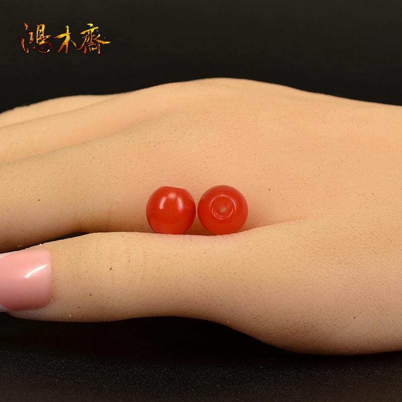鸿木斋 天然南红散珠 保山南红柿子红 南红腰珠 孤品N3601 (6).JPG