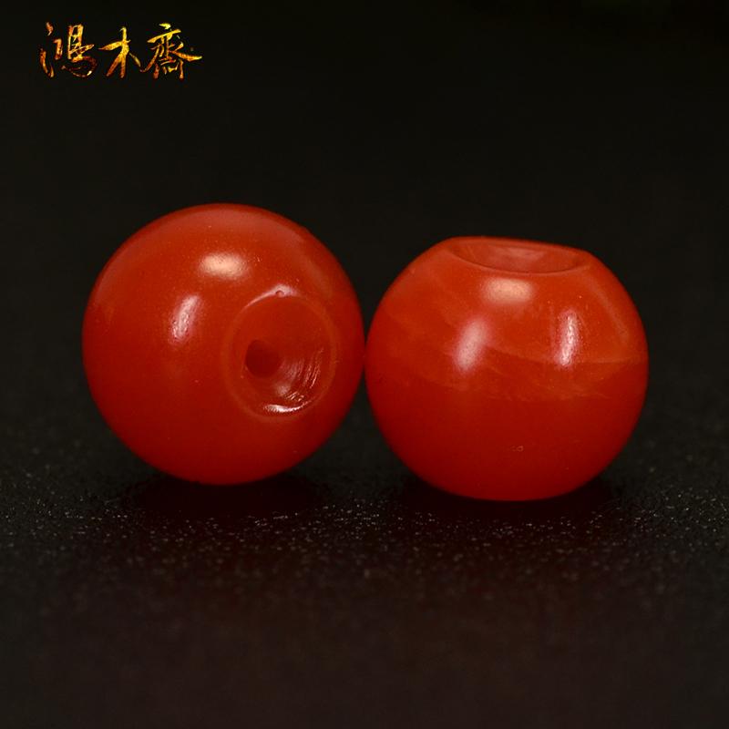 鸿木斋 南红玛瑙散珠 天然保山南红柿子红 南红腰珠 孤品N3606 (3).JPG