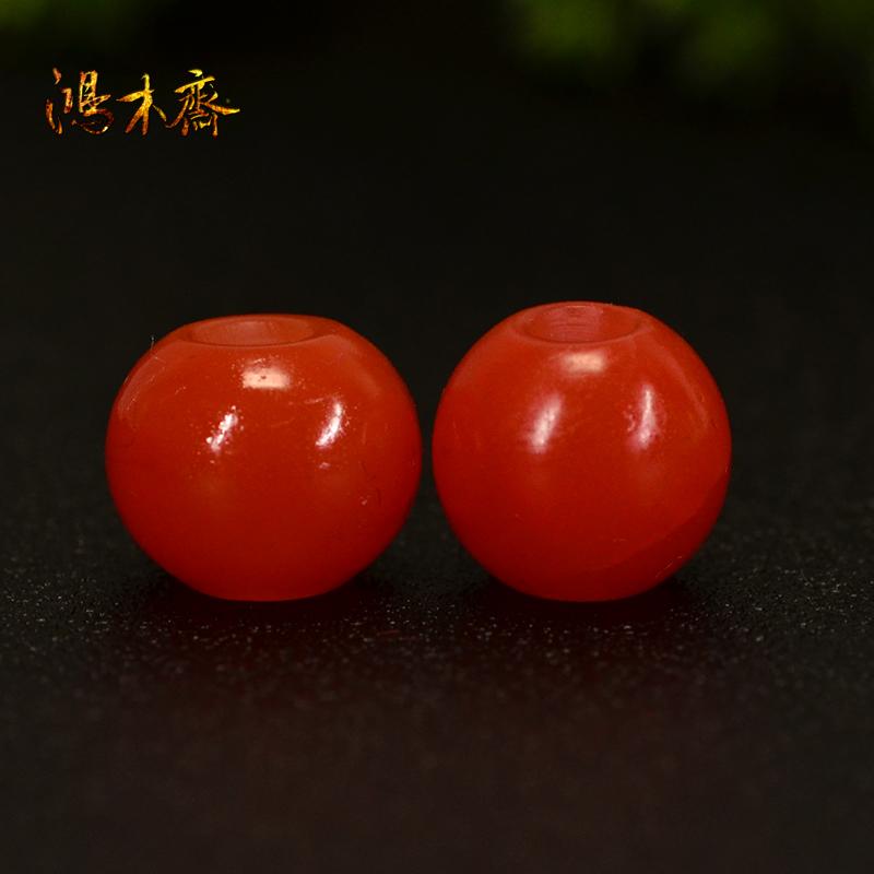 鸿木斋 南红玛瑙散珠 天然保山南红柿子红 南红腰珠 孤品N3605 (5).JPG