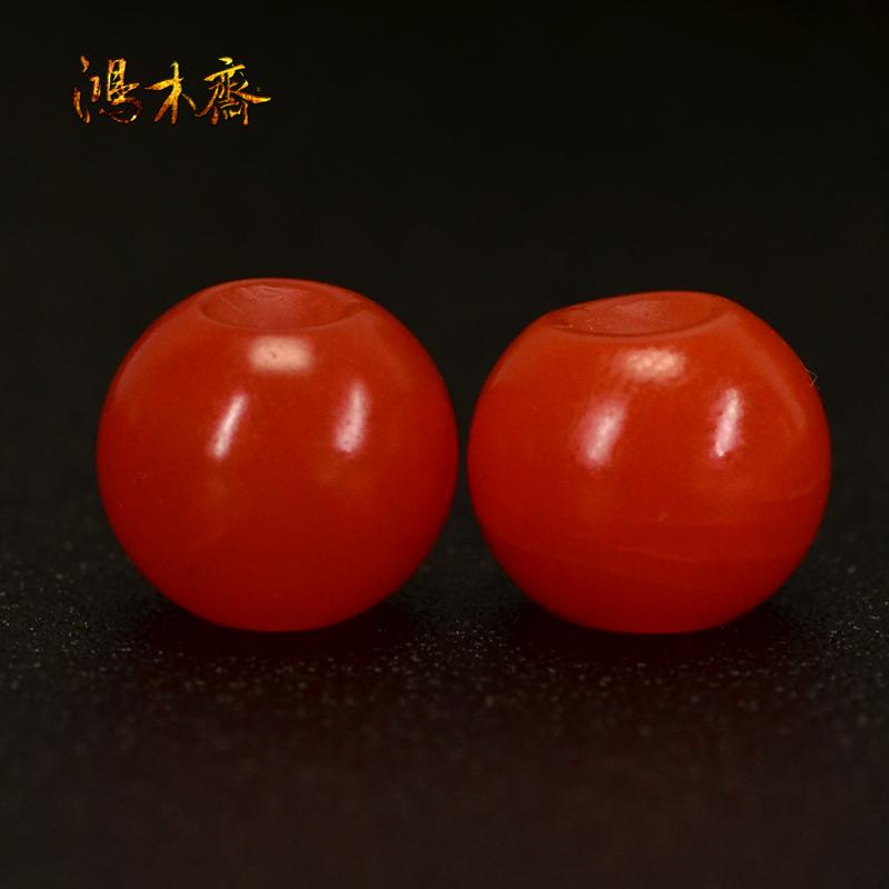 鸿木斋 南红玛瑙散珠 天然保山南红柿子红 南红腰珠 孤品N3606 (4).JPG