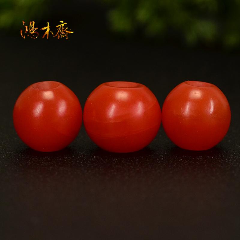 鸿木斋 天然保山南红散珠 柿子红 南红顶珠腰珠 孤品N3608 (5).JPG