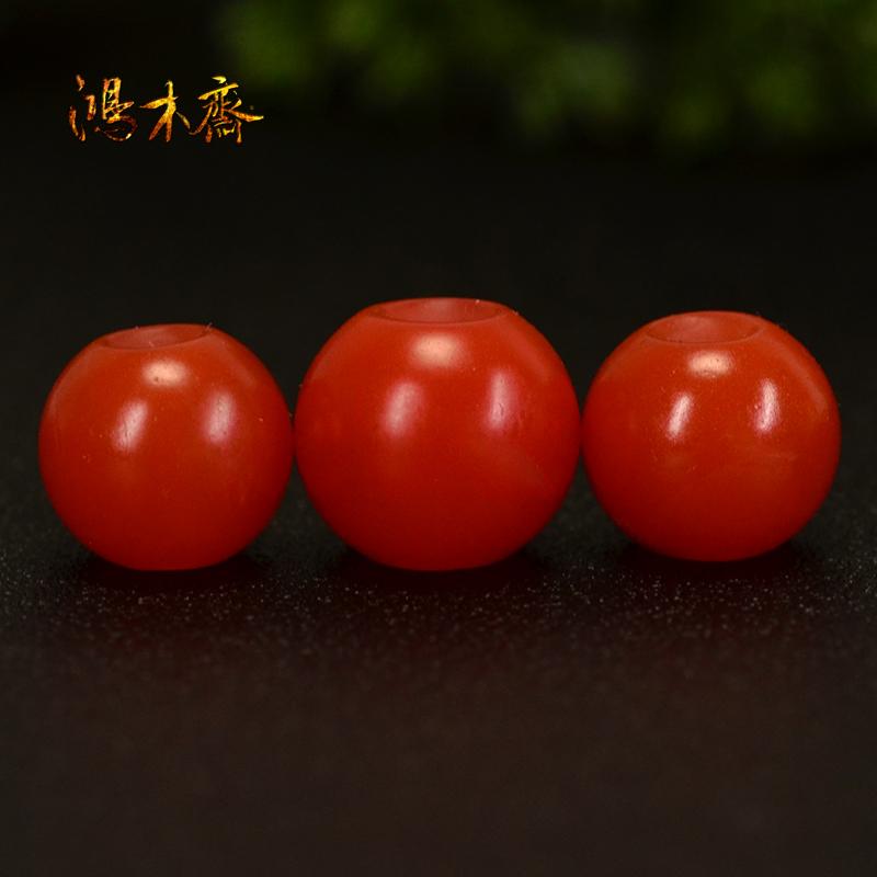 鸿木斋 天然保山南红散珠 柿子红 南红顶珠腰珠 孤品N3607 (3).JPG