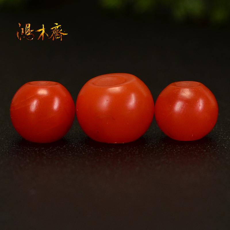 鸿木斋 天然保山南红散珠 柿子红 南红顶珠腰珠 孤品N3609 (3).JPG